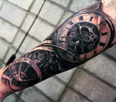 Superb Mechanical Pocket Watch Tattoo On Forearms For Men atuajes para hombres en el brazo