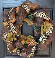 Leopard Inspired Front Door Wreath by WelcomeHomeWreath on Etsy
