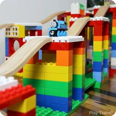 Creative Building Play with DUPLO and Wooden Train Tracks - When Dreamup Toys sent us these building toys that connect wooden train tracks to interlocking buil - Train Activities, Activities For Kids, Wooden Train, Train Layouts, Train Tracks, Classic Toys, Jouer, Building Toys, Building Ideas