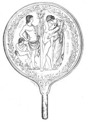 Drawing from an Etruscan mirror: Semele embracing her son Dionysus, with Apollo looking on and a satyr playing an aulos.
