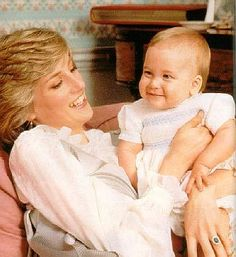 February A baby Prince William with his mother, The Princess of Wales, at home in Kensington Palace, London. Princess Diana wearing a silver pinafore style dress with a white blouse underneath. Princess Diana Family, Princes Diana, Princess Of Wales, Princess Kate, Princess Charlotte, Diana Son, Lady Diana Spencer, Charles And Diana, Prince William And Kate