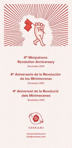 #crowdfunding #verkami   4º Aniversario Verkami - Flyer B.   Celebramos 4 años de Verkami, la gran casa de la cultura. --> http://vkm.is/blog4years  4th Minipatrons Revolution Anniversary. verkami - December 2014  4º Aniversario de la Revolución de los Minimecenas. verkami - Diciembre 2014  4rt Aniversari de la Revolució dels Minimecenes. verkami - Desembre 2014  +info >> http://vkm.is/blog4years  *Art by Lucreativo - http://lucreativo.com