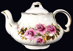 Ellgreave 2 Cup Teapot, Small Wood & Sons Ironstone Tea Pot, Floral Pot Made in England J-1711