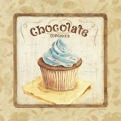 Sweet Cupcakes IV by Lisa Audit Chocolate Kitchen Decor Art Print Framed Cupcake Vintage, Images Vintage, Vintage Diy, Vintage Labels, Vintage Bakery, Vintage Teacups, Printable Vintage, Retro Images, Vintage Ephemera