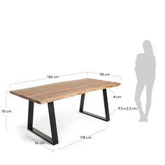 Tavolo da pranzo stile industriale in acacia e metallo
