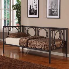 Texture Black Metal Twin Size Day Bed Frame With Rails.The day bed is one of our newest daybed introductions Furniture, Day Bed Frame, Home, Best Platform Beds, Metal Daybed, Platform Mattress, Bed, Bed Frame, Daybed With Trundle Bed