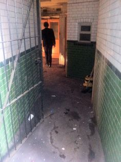 Original subway tiles and the 100 year old entrance to D at 27 Foley Street London Cafe, Condo Decorating, Terrace Garden, Abandoned, Entrance, Public, Subway Tiles, Coffee Shops, Toilets