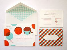 Super cute wedding invite set designed by Erin Jang.