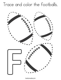 Trace and color the footballs Coloring Page - Twisty Noodle School Age Activities, Math Activities For Kids, Writing Activities, Preschool Activities, Preschool Projects, Sports Activities, Football Coloring Pages, Sports Coloring Pages, Preschool Coloring Pages