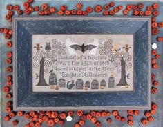 Tonight Is Halloween is the title of this cross stitch pattern from Kathy Barrick that is stitched with DMC threads.