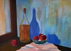 Still Life Bottle and Fruits Be Still, Still Life, Tourism Management, American High School, Tourism Department, Framed Prints, Canvas Prints, Greeting Cards, Tapestry