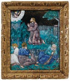 Plaque représentant le Christ au Jardun des Oliviers. France, Limoges, XVIe siècle. Photo Sotheby's