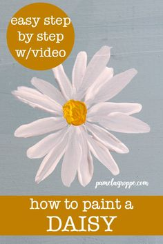 Learn how to paint a simple daisy one easy stroke at a time in acrylics. Fast and fun simple enough for beginner painters and kids alike. Create hand made gifts DIY signs or use them in a canvas painting. Acrylic Painting Flowers, Daisy Painting, Easy Canvas Painting, Acrylic Painting Tutorials, Diy Canvas Art, Canvas Paintings, Easy Painting For Kids, Easy Painting Projects, Dandelion Painting