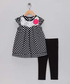 Take a look at this Black & White Polka Dot Dress & Leggings - Toddler & Girls by Sweet Heart Rose on #zulily today!