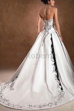 Robe de mariee bustier noir et blanc