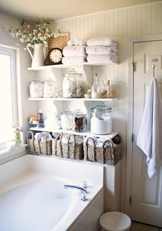 storage solutions and wall decoration ideas for small bathroom