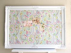 MEMO BOARD Girls Room Decor Bulletin Board Magnet Board Memory Board Teen Nursery Pink Green Blue Magnetic Desk Organizer Paisley Fabric