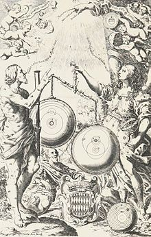 rontispiece of Riccioli's 1651 New Almagest. Mythological figures observe the heavens with a telescope and weigh the heliocentric theory of Copernicus in a balance against his modified version of Tycho Brahe's geo-heliocentric system, in which the Sun, Moon, Jupiter and Saturn orbit the Earth while Mercury, Venus, and Mars orbit the Sun. The old Ptolemaic geocentric theory lies discarded on the ground, made obsolete by the telescope's discoveries. These are illustrated at top and in
