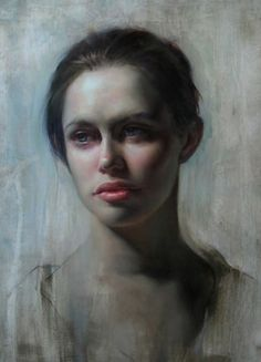 """""""Ashland"""" - Tenaya Sims, oil on board {contemporary figurative art beautiful female head red lips woman face portrait cropped painting #loveart}"""