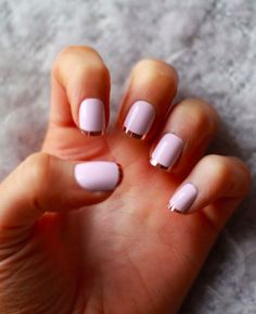 Play around with more metallic colors with your French tip manicure. Start off with a plain white polish as your base. Then thinly tip your nails with metallic gold polish to complete the elegant look.