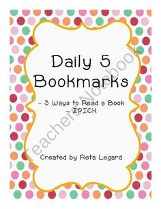 Daily 5 Bookmark from Second Grade Superstars on TeachersNotebook.com (2 pages)