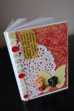 The Inspiring Butterfly Ruby Red and Yellow Mini Altered Journal/Notebook by amyelisedesigns, $7.95