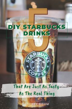 5 DIY Starbucks Drinks That Are Just As Tasty As The Real Thing - UK - - Is your bank account suffering because of your Starbucks addiction? I feel you. Try out these 5 DIY Starbucks drinks that are just as tasty to save up cash! Starbucks Frappuccino, Starbucks Diy, Starbucks Caramel, Starbucks Secret Menu, Starbucks Recipes, Starbucks Coffee, Starbucks Siren, Frappuccino Recipe, Starbucks Calories