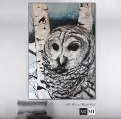 The Brown Barred Owl, Owl painting, Art for sale Barred Owl, Wildlife Paintings, Plaster, Painting Art, Acrylics, Art For Sale, Canvas, Gallery, Brown