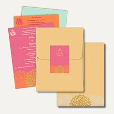 Hindu Wedding Cards HU2244-Ga - This contemporary card is made out of golden shimmery finish paper board. Card has folding style jacket cum envelope with option of three colored velvet finish inserts inside. Gold printed Ganesh.