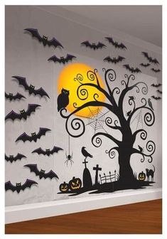 Many of the decoration above are easy to find. You can also painting the Halloween decoration by yourself. The Halloween decoration mostly doesn't look creepy, yet looks fun. So, it is a good idea to make a party in your house with the Halloween concept. Diy Halloween Party, Halloween Classroom Decorations, Halloween Party Supplies, Scary Halloween Decorations, Halloween Trees, Halloween Crafts, Wall Decorations, Halloween Bulletin Boards, Holiday Decorations
