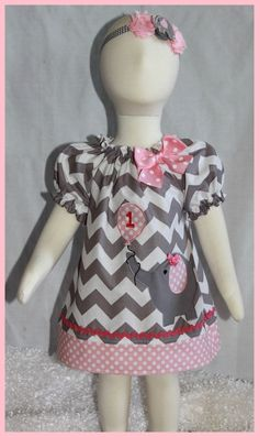 Cute Peasant Gray Chevron Stripe and Pink Polka dot Birthday Elephant with Balloon applique dress on Etsy, $28.00