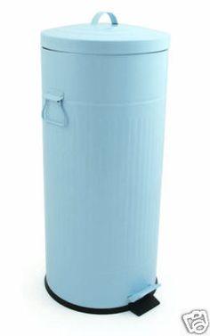 30ltr retro blue steel enamelled kitchen pedal bin