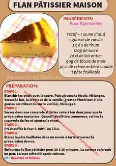 Pastry flan: the best recipe - Discover the recipe for Flan pâtissier, a successful recipe to devour for a snack, during brunch o - Desserts With Biscuits, Chocolate Fruit Cake, Mousse, Savoury Cake, Clean Eating Snacks, Brunch, Quick Easy Meals, Healthy Dinner Recipes, Cake Recipes
