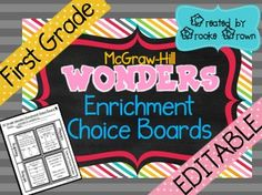 These Enrichment Choice boards are ideal for differentiated learning for your high achieving readers and writers.  30 boards are provided (approximately one per week) with four consistent Language Arts subject areas per week.  These activities are adapted, condensed, and simplified from the existing Leveled Work Station cards that are included with the 2014 First Grade Wonders curriculum and are Common Core aligned.