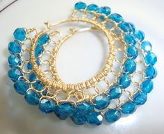Luster Teal Blue and Gold Wire Lace Hoop Earrings by gogobeads, $42.00