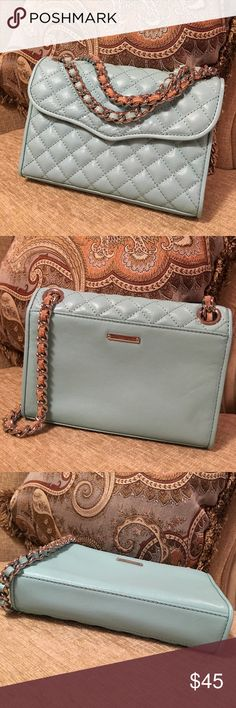 Rebecca minkoff mini quilted affair in mint blue Excellent conditions, like new Rebecca Minkoff Bags Crossbody Bags