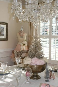 Vintage Christmas with pastel accents.  Love the dress form in the background!