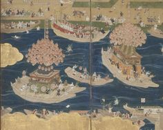 Detail. Night Festival of Tsushima Shrine Japan, Kan'ei era (1624-1644), early Edo period Paintings; screens Eight panel screen; ink, color, gold, and gold leaf on paper