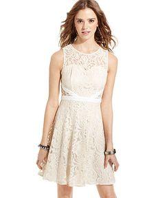 American Rag Juniors Dress, Sleeveless Lace A-Line Web ID: 781812