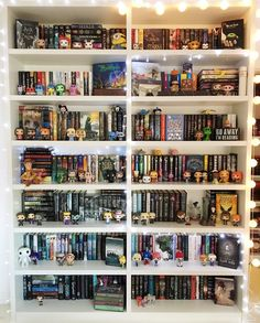Own all my favorite books and put them in a shelf with lights, Funkopops, and other bookish things. I Love Books, Books To Read, My Books, Dream Library, Book Aesthetic, Shelfie, Book Fandoms, Book Nooks, Book Nerd