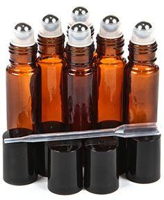 $7.99 - 6 New, High Quality, Amber, 10 ml Glass Roll-on Bottles | For larger roller bottle recipes