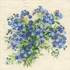 Riolis-Forget Me Nots Counted Cross Stitch Kit. Express your love for arts and crafts with these beautiful cross stitch kits! Find a themed kit for any taste! This package contains one color chart, 14