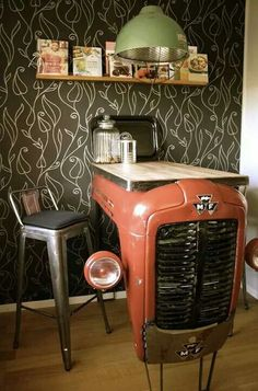 Love the use of the old tractor!