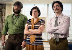 Mad Men Season 7 -- Stan Rizzo (Jay R. Ferguson), Peggy Olson (Elisabeth Moss) and Michael Ginsberg (Ben Feldman) in Episode 4