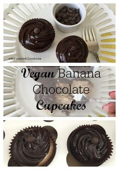 Vegan Banana Chocolate Cupcakes on a white pedestal plate. These delicious cupcakes taste amazing without frosting, but even better with Vegan Chocolate frosting. Candy Recipes, Cupcake Recipes, Baking Recipes, Cookie Recipes, Dessert Recipes, Paleo Baking, Sweet Recipes, Vegan Chocolate Frosting, Chocolate Cupcakes