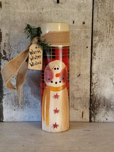 Primitive Country Snowman on Vintage Thermos by FlatHillGoods