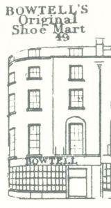 Thomas Bowtell, boot and shoe warehouse, via London Street Views