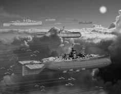 Fleet in Grey (improved contrast) by ColorCopyCenter on DeviantArt Concept Ships, Concept Art, Zeppelin, Steampunk Ship, Punk Genres, Sci Fi Ships, Pulp, Alternate History, Retro Futuristic