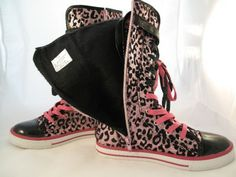 Justice shoes for girls   Justice Size 7 Pink Leopard Sparkle High Top Boots Rain Used Excellent ...