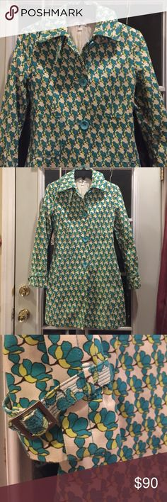 Psychedelic vintage 70's style coat Super cute 70's psychedelic print coat, from a Spanish brand Mango, very good condition, size on the tag is Small in euro, XS in usa, I'm a size small, it fits me perfectly. Vintage Jackets & Coats Trench Coats
